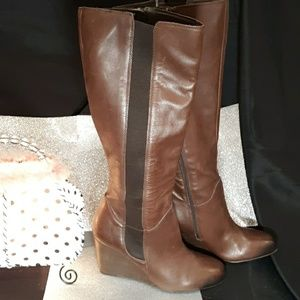 Franco Sarto Shoes - Franco Sarto Leather Wedged Brown Boot